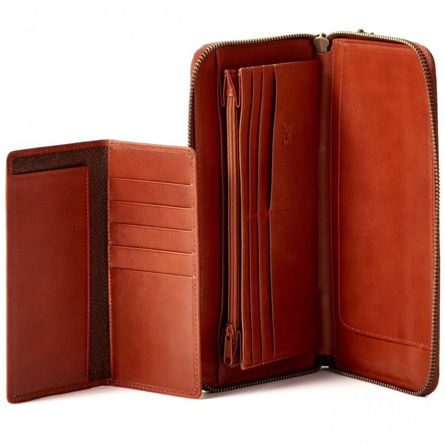 Will Leather Goods Washed Lamb Wallet Collection Imogen Checkbook Clutch Italian Lambskin, Cognac