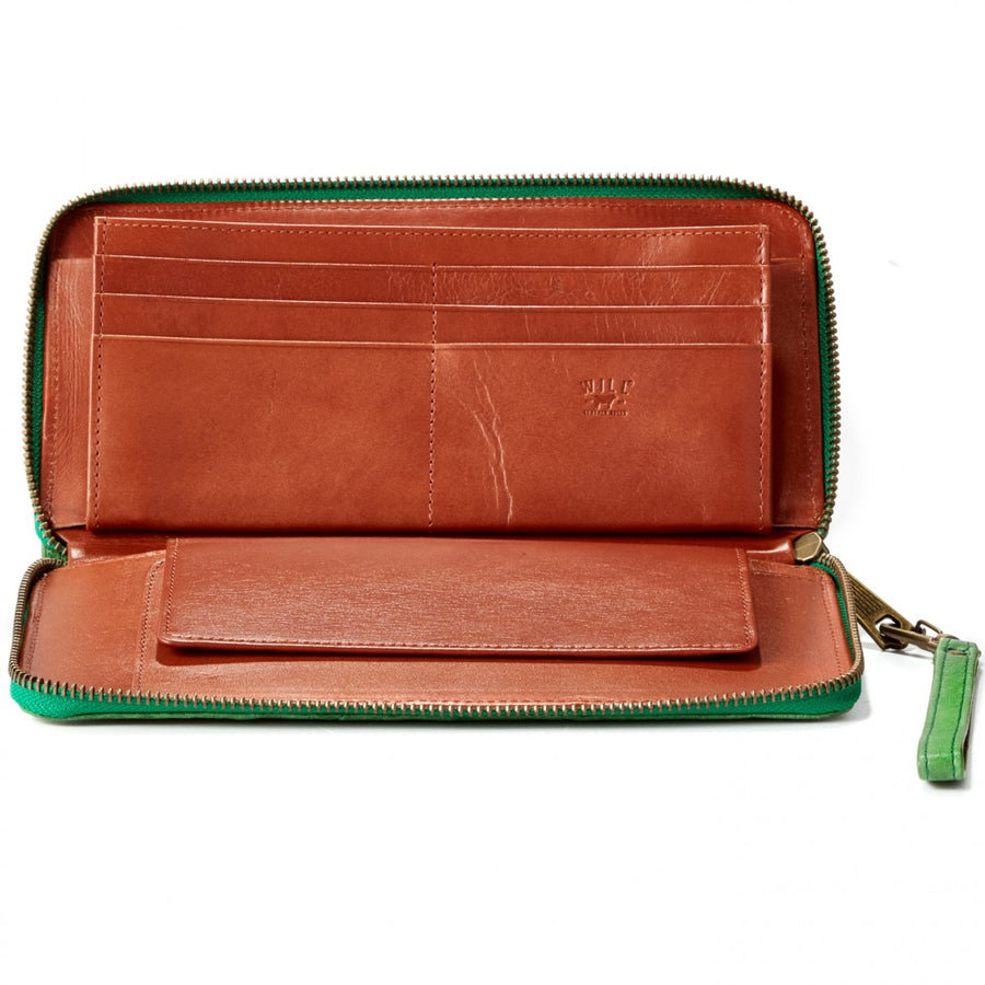 Will Leather Goods Washed Lamb Wallet Collection Imogen Checkbook Clutch Italian Lambskin, Washed Green