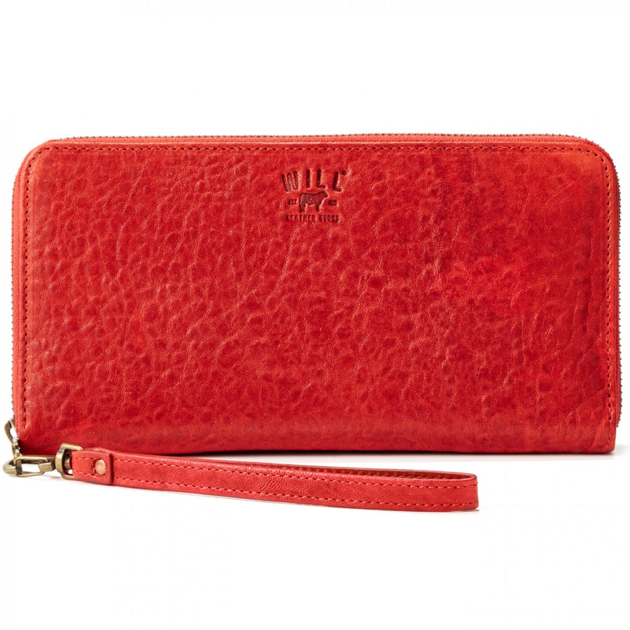 Will Leather Goods Washed Lamb Wallet Collection Imogen Checkbook Clutch Italian Lambskin, Rust