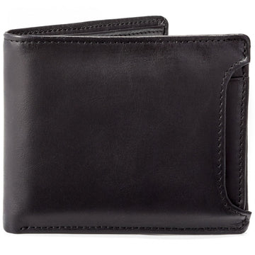 Will Leather Goods Bill Adler at Once Burnished Black Leather Billfold Wallet with Remove Card Case