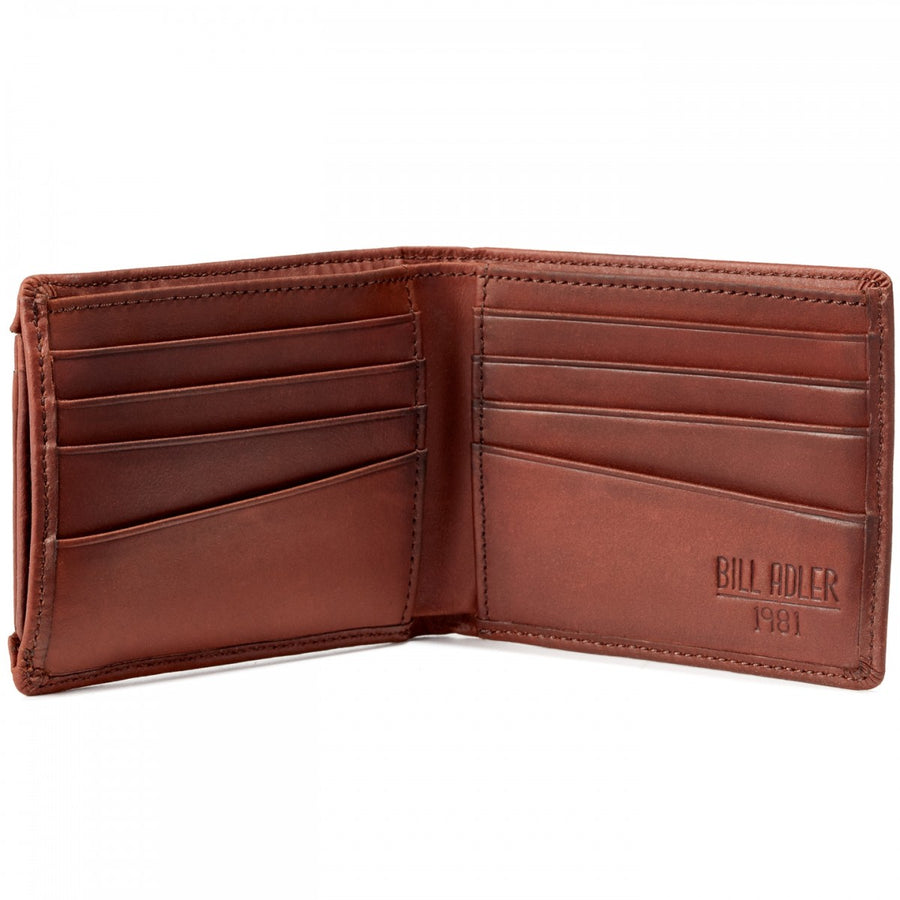 Will Leather Goods Bill Adler at Once Burnished Light Brown Leather Billfold Wallet with Remove Card Case