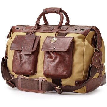 Will Leather Goods Men's Travel Duffle Bag, Tan Canvas and Brown Leather