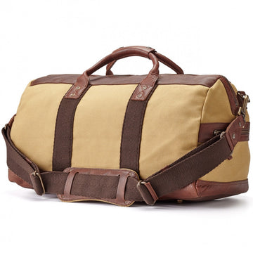 Will Leather Goods Signature Brown Leather and Tan Canvas Duffle Bag, Atticus Collection