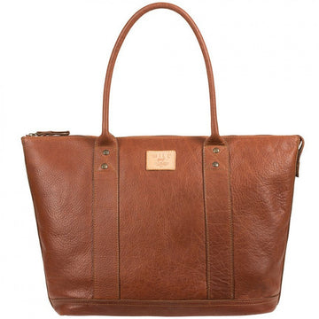 Will Leather Goods Men's Signature Leather Getaway Tote, Cognac Brown - upscaleman.myshopify.com
