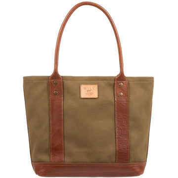 Will Leather Goods Signature Canvas & Leather Everyday Tote, Tobacco/Saddle - upscaleman.myshopify.com