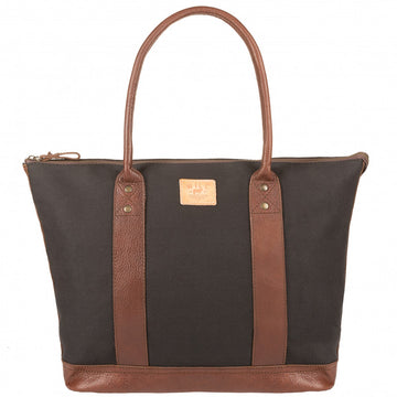 Will Leather Goods Signature Canvas & Leather Getaway Tote, Black/Brown - upscaleman.myshopify.com