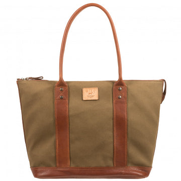 Will Leather Goods Signature Canvas & Leather Getaway Tote, Tobacco/Saddle - upscaleman.myshopify.com