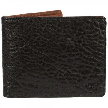 Will Leather Goods Marvel Black Wallet with Cognac Lining, Italian Lambskin 4.5