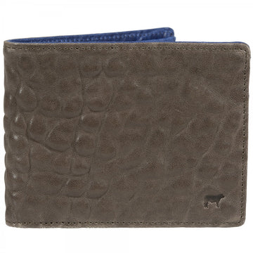 Will Leather Goods Marvel Leather Wallet, Grey with Blue Lining Italian Lambskin 4.5