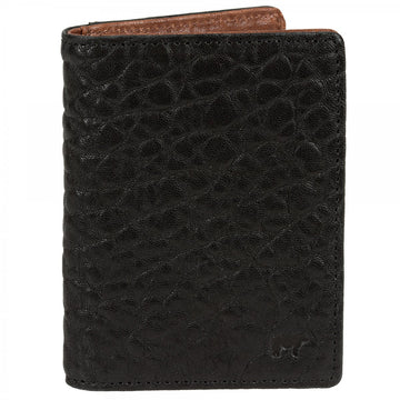 Will Leather Goods Flip Black Front Pocket Wallet with Cognac Lining 3
