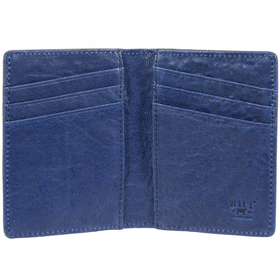 Will Leather Goods Flip Front Pocket Wallet, Grey with Royal Blue Lining 3