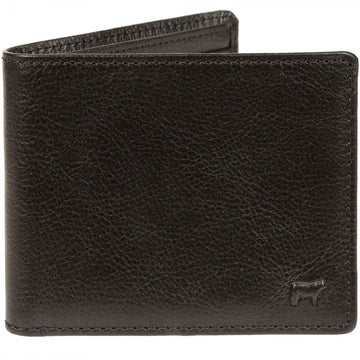 Will Leather Goods Classic Bifold Black Leather Wallet, Vegetable Tanned, Top Grain Leather, 4.5