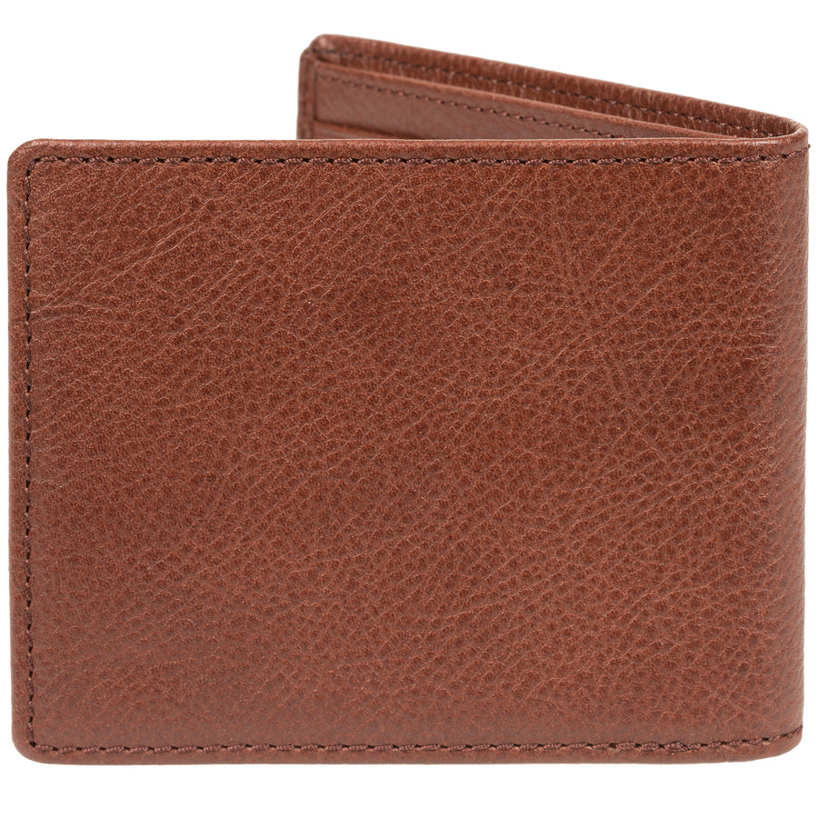 Will Leather Goods Classic Bifold Leather Wallet, Vegetable Tanned Top Grain Leather, Brown, 4.5