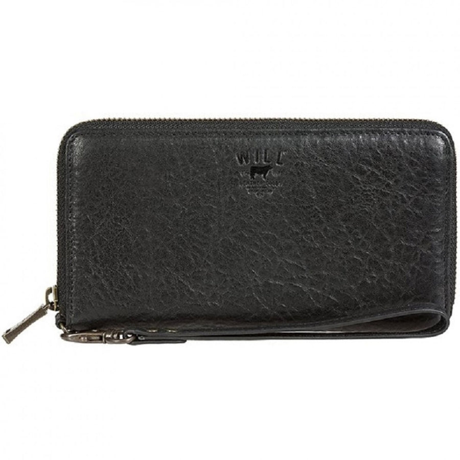 Will Leather Goods Women's Alix Zip Around Lambskin Black Clutch