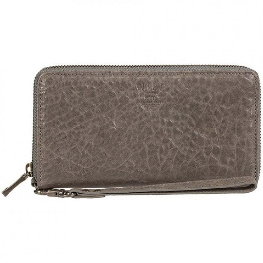 Will Leather Goods Women's Alix Zip Around Clutch Purse, Washed Lambskin in Grey