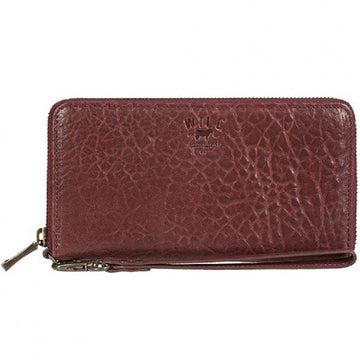 Will Leather Goods Women's Alix Zip Around Wine Clutch Bag in Washed Lambskin