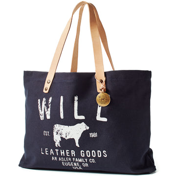 Will Leather Goods Classic Carry All Cotton Canvas and Leather Tote Bag Small, Navy - upscaleman.myshopify.com
