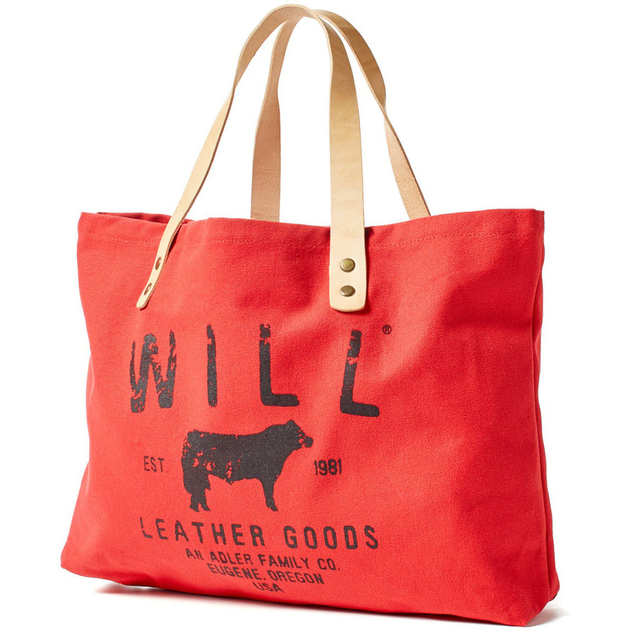 Will Leather Goods Classic Carry All Cotton Canvas and Leather Tote Bag Small, Red