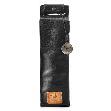 Will Leather Goods Single Wine Bottle Bag, Black Leather