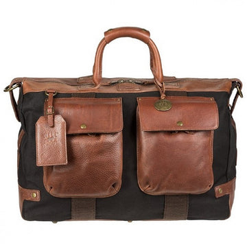 Will Leather Goods Men's Traveler Cotton Canvas Duffle Bag, Brown and Black