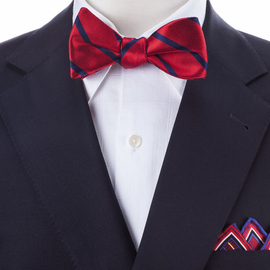 Bruno Piattelli Silk Self-Tie Striped Bow Tie - Red/Blue