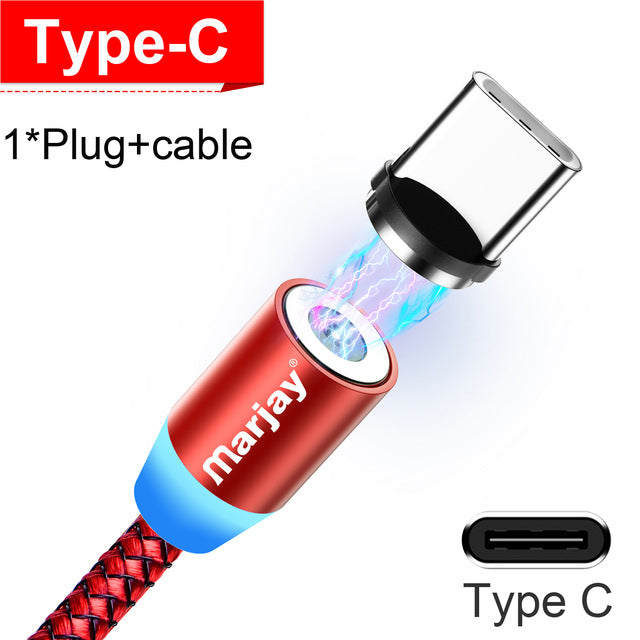 Marjay Magnetic Charger Micro USB Cable For iPhone Samsung Android Fast Charging Magnet USB Type C Cable Mobile Phone Cord Wire