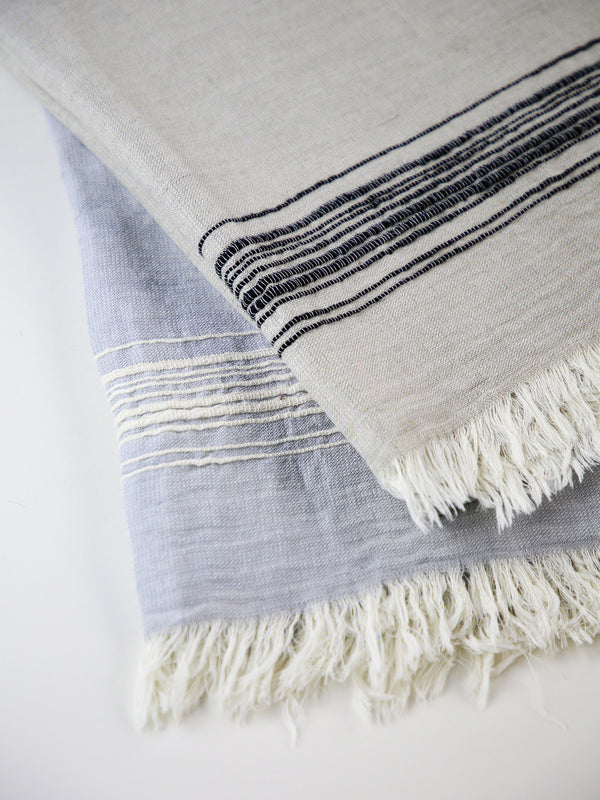 BODRUM LINEN/COTTON EMBROIDERED STRIPE TOWEL