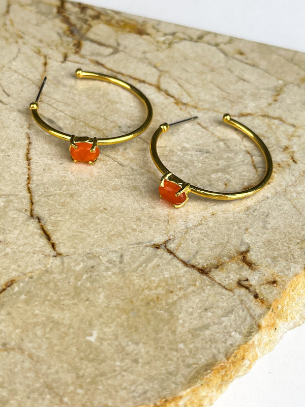 DRAFT GEMSTONE HOOP EARRINGS.