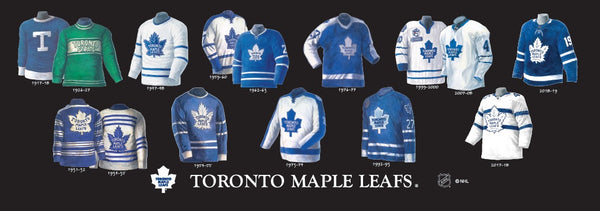 Plaqued Toronto Maple Leafs uniform evolution poster