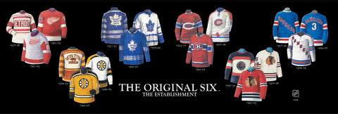 NHL Original Six teams uniform evolution plaqued poster