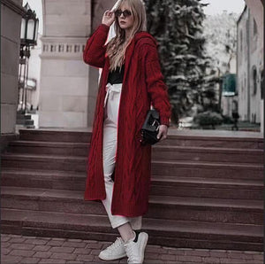Fashion Hooded Casual Knitted Long Sweater Coat