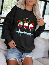 Load image into Gallery viewer, Women's Christmas Red Wine Glass Print Sweatshirt
