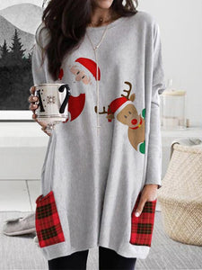 Christmas Cartoon Print Plaid Stitching Long-Sleeved T-Shirt