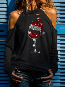 Ladies Red Wine Glass Christmas Hat Graphic Print Off Shoulder Long Sleeve T-Shirt