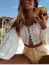 Load image into Gallery viewer, White Off Shoulder Lace Panel Puff Sleeve Crop Blouse