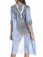 Load image into Gallery viewer, Blue Folk Print Open Front Longline Cardigan
