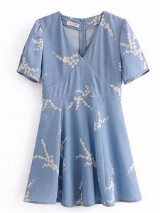 Light Blue Cotton V-neck Floral Print Chic Women Mini Dress