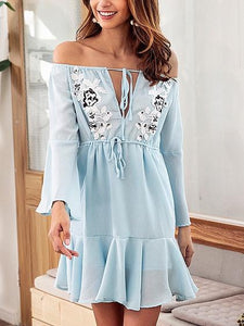 Light Blue Chiffon Off Shoulder Applique Detail Chic Women Mini Dress