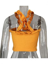 Load image into Gallery viewer, Yellow Women Top Halter Ruffle Trim