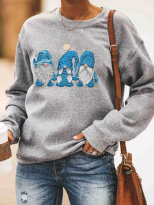 Christmas Color Gnomis Print Sweatshirt
