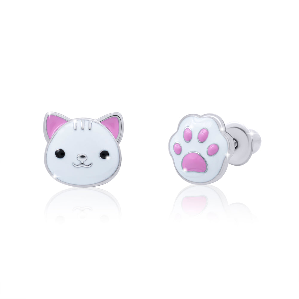 "Earrings ""Kitty with pow"" (white)"