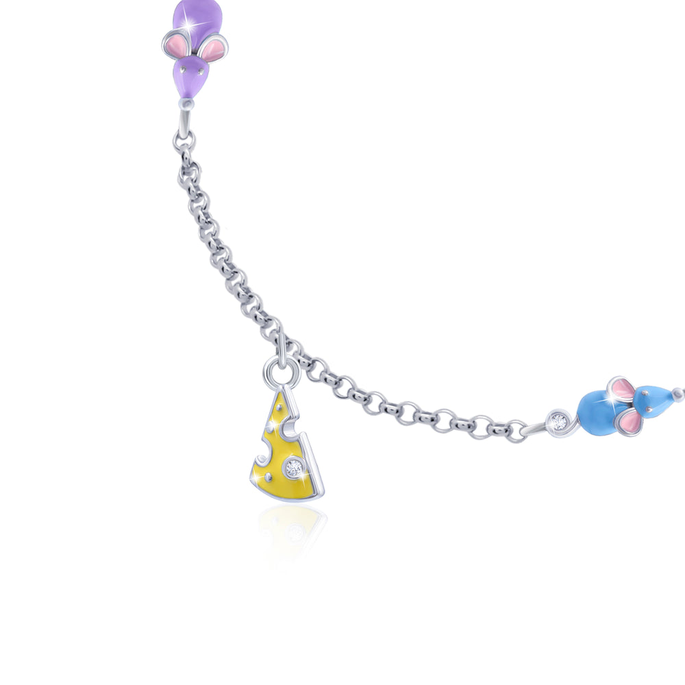"Bracelet on a chain ""Mouse with cheese"""