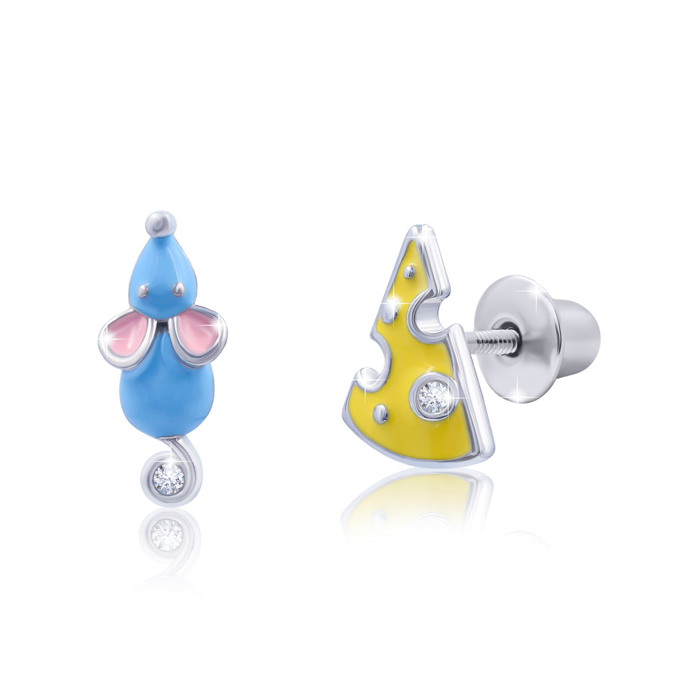 "Earrings ""Mouse with Cheese"""