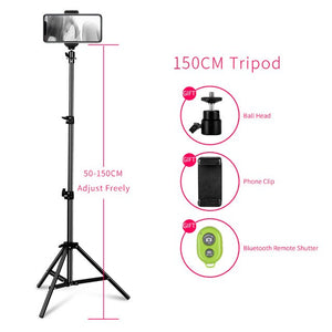 Tripod for Phone with Bluetooth Remote Control Selfie flash photo