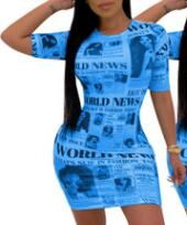 Newspaper Printed Short Sleeve Bodycon Mini Dress