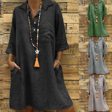 Load image into Gallery viewer, Solid Boho Turn-down Collar Dress 3/4 Sleeve Casual Pocket Button Dress