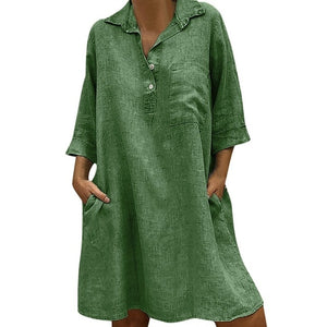 Solid Boho Turn-down Collar Dress 3/4 Sleeve Casual Pocket Button Dress