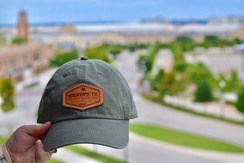 Wicker's TX Olive Green Leather Patch Hat $25 (Shipping Included)