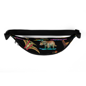 Dinosaur Ski Day Fanny Pack - Black