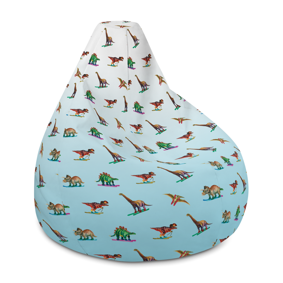 Dinosaur Ski Day Bean Bag Chair - Ice Blue